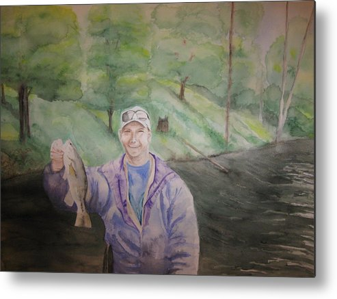 Fishing Metal Print featuring the painting The Catch by Diana Prout