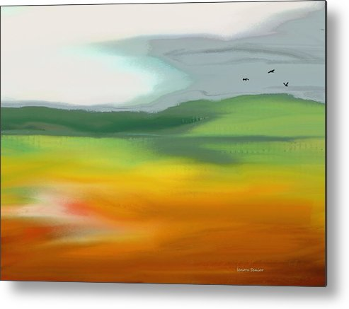 Abstract Metal Print featuring the painting The Distant Hills by Lenore Senior