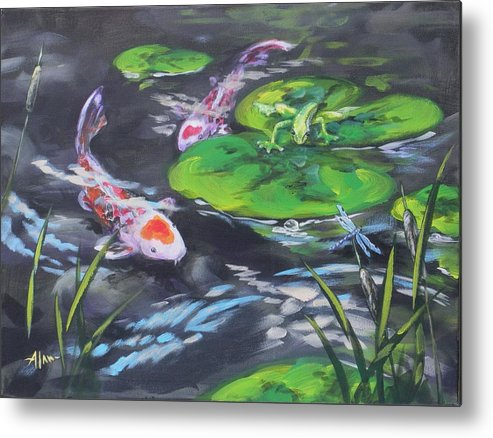 Koi Fish Frog Dragonfly Water Waterscape Lily Pad Pond Cattails Green Blue Red White Nature Metal Print featuring the painting The Drag Race by Alan Scott Craig