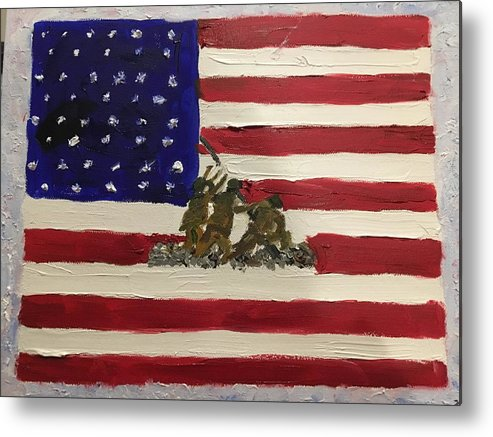 American Flag Metal Print featuring the painting The Few, The Proud by Lisa Cannon