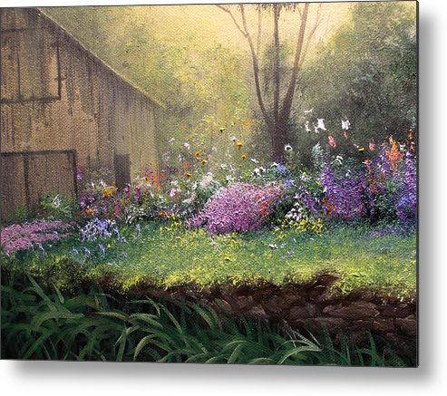 Connie Tom Metal Print featuring the painting The Garden Shed by Connie Tom