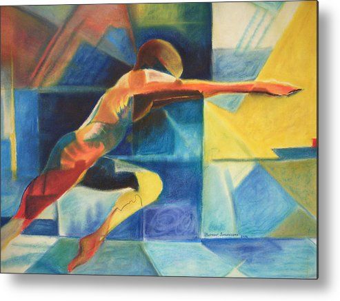 Gymnast Athlete Blue Life Male Figure Metal Print featuring the painting The Gymnast by Benedict Olorunnisomo