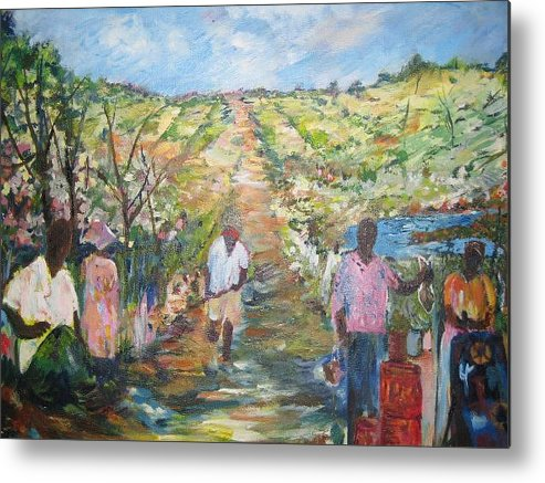 Folk Metal Print featuring the painting The Harvest by Impressionist FineArtist Tucker Demps Collection