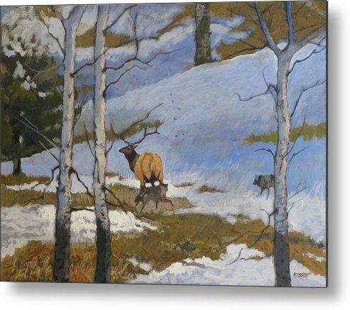 Elk Metal Print featuring the painting The Hunt by Robert Bissett