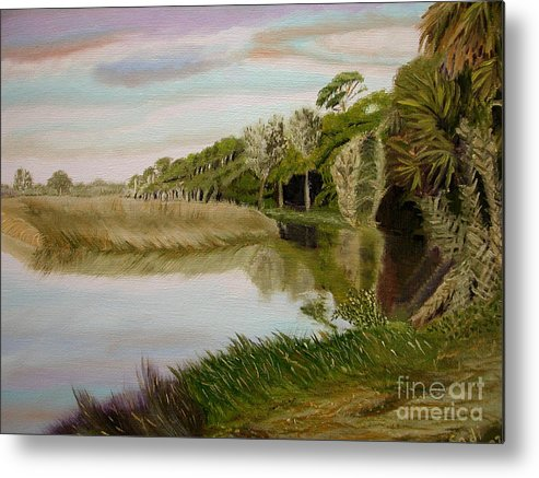 Landscape Metal Print featuring the painting The Loop by Sodi Griffin