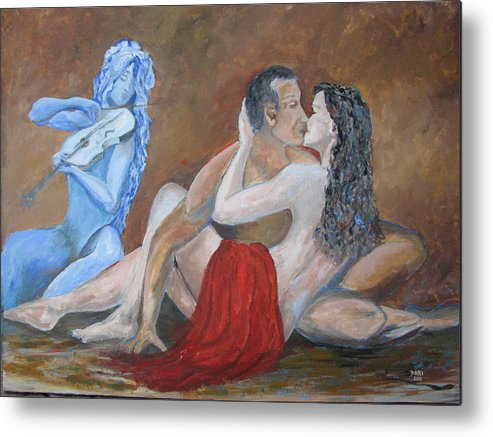 Love Metal Print featuring the painting The Muse by Dari Artist