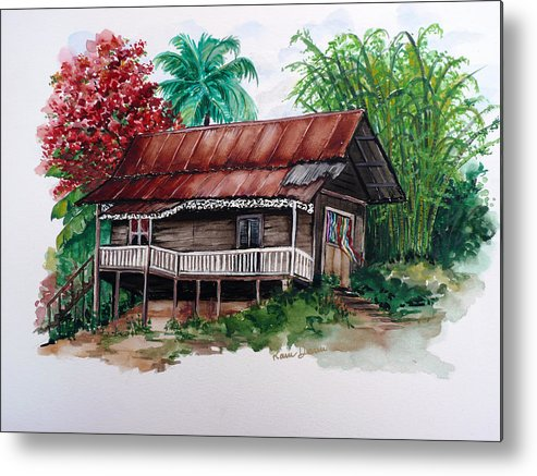 Tropical Painting Poincianna Painting Caribbean Painting Old House Painting Cocoa House Painting Trinidad And Tobago Painting  Tropical Painting Flamboyant Painting Poinciana Red Greeting Card Painting Metal Print featuring the painting The Old Cocoa House by Karin Dawn Kelshall- Best