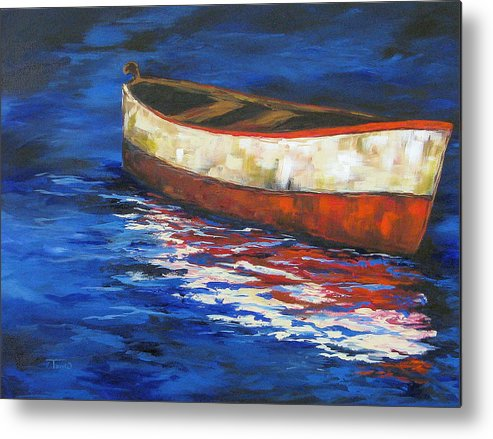 Boat Metal Print featuring the painting The Old Red Boat 2011 by Torrie Smiley