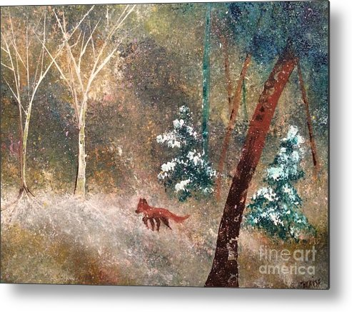 Snow Metal Print featuring the painting The Onion Snow by Denise Tomasura