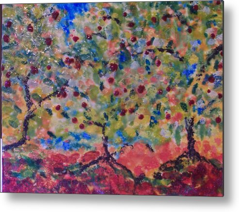 Landscape Metal Print featuring the painting The Orchard by Karla Phlypo-Price