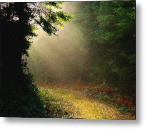 Green Metal Print featuring the painting The Path by Tommy Charles