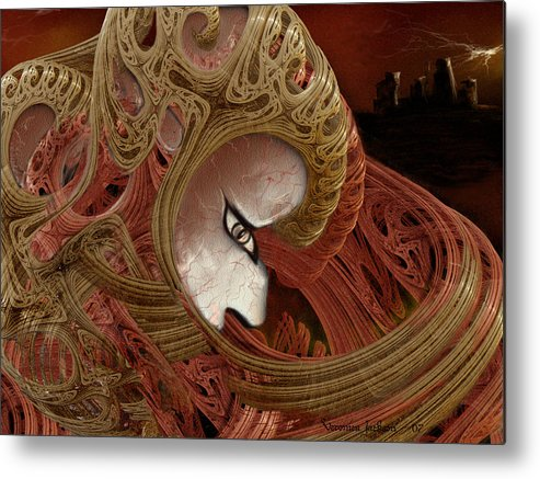 Warrior Darkness Loneliness Eyes Shield Metal Print featuring the digital art The Pilgrim by Veronica Jackson