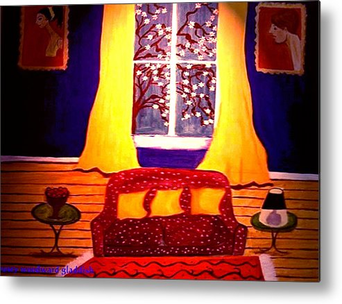 Still Life Metal Print featuring the painting The Polka Dot Sofa by Rusty Gladdish