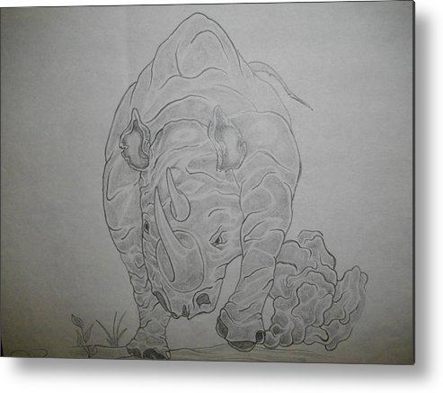 Charging Rhinosaurus Metal Print featuring the painting The Raging Rhino by Nicole Lee
