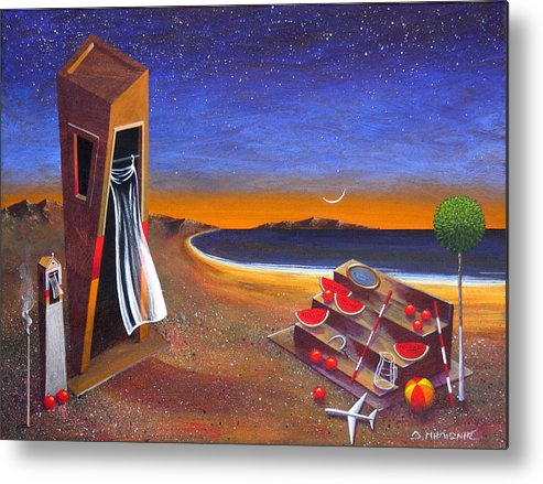 Landscape Metal Print featuring the painting The School Of Metaphysical Thought by Dimitris Milionis