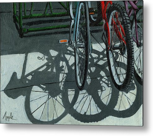 Bicycles Metal Print featuring the painting The Secret Meeting - Bicycle Shadows by Linda Apple