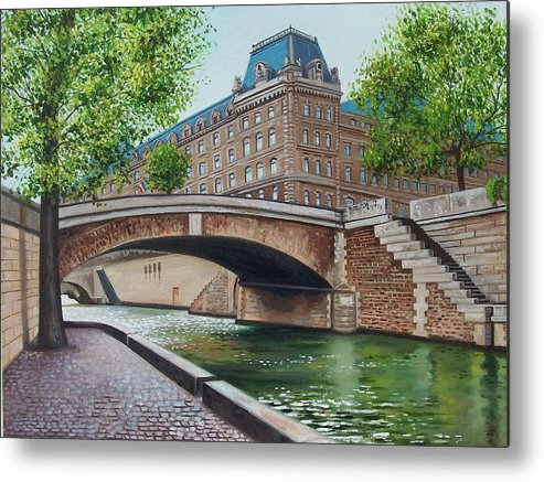 Cityscape Metal Print featuring the print The Seine by Arnold Hurley