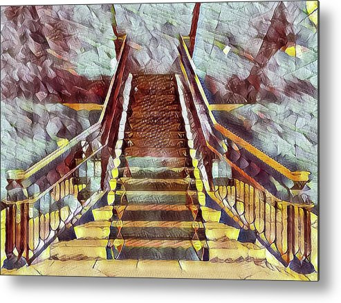 Abstract Metal Print featuring the photograph The Stair by Jonathan Nguyen