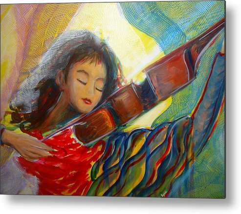 Violin Metal Print featuring the painting The Sweetest Sounds by Regina Walsh