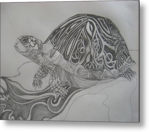 Water Metal Print featuring the drawing The Turtle by Theodora Dimitrijevic