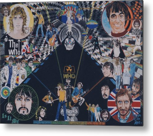 Pete Townshend;roger Daltrey;john Entwistle;keith Moon;quadrophenia;opera;story;four;music;guitars;lasers;mods;rockers;london;brighton;1964 Metal Print featuring the drawing The Who - Quadrophenia by Sean Connolly