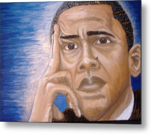 Acrylic Metal Print featuring the painting Thinking Of A Master Plan by Keenya Woods