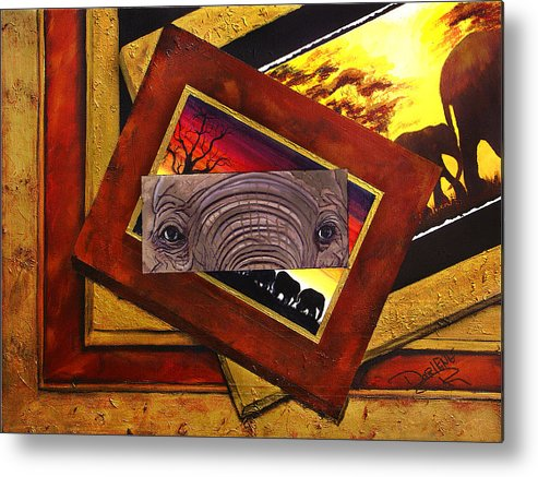 Elephant Eyes Metal Print featuring the painting Those Eyes Elephant Safari Series by Darlene Green