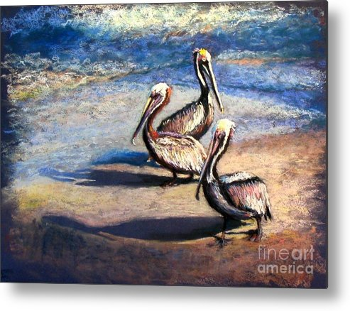 Birds Metal Print featuring the painting Three Amigos by Shirley Leswick