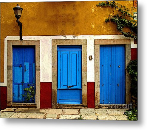 Darian Day Metal Print featuring the photograph Three Blue Doors 1 by Mexicolors Art Photography