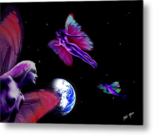 Fairy Metal Print featuring the painting Three For Home by Tray Mead