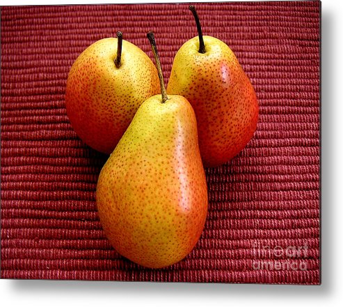 Nature Metal Print featuring the photograph Three Pears by Lucyna A M Green