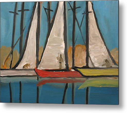 Boat Metal Print featuring the painting Three Saillboats by Robert Bissett