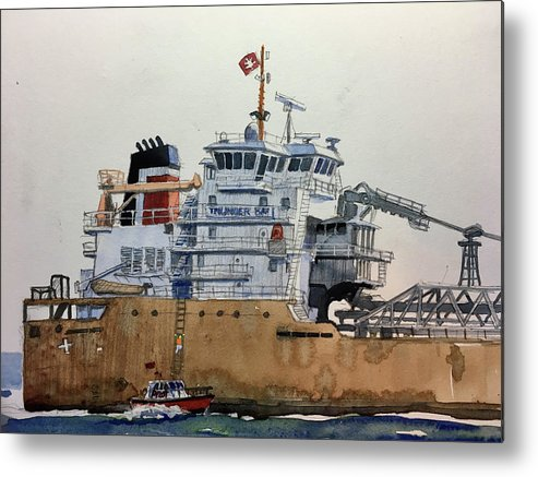 Great Lakes Shipping Metal Print featuring the painting Thunder Bay by Dave Tobaben
