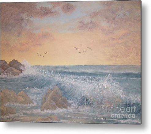 Ocean Metal Print featuring the painting Thundering Sea by Patti Lennox