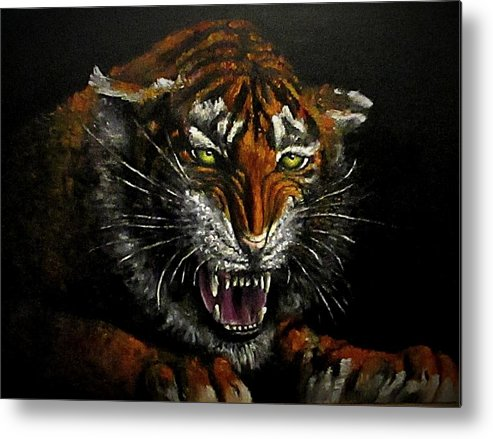 Animal Metal Print featuring the painting Tiger-1 Original Oil Painting by Natalja Picugina