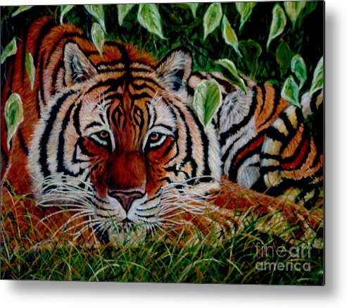 Tiger Metal Print featuring the painting Tiger In Jungle by Nick Gustafson