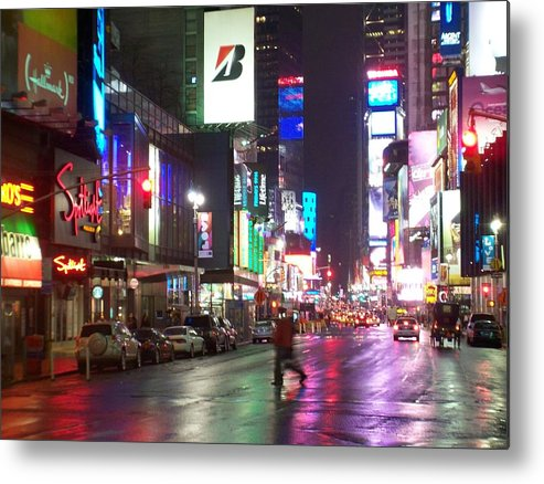 Times Square Metal Print featuring the photograph Times Square In The Rain 2 by Anita Burgermeister