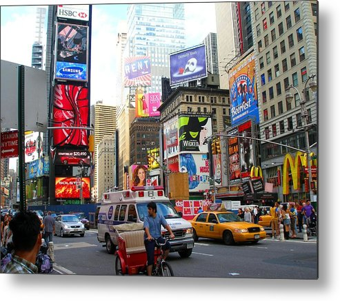 Downtown Metal Print featuring the photograph Times Square New York by Candace Garcia