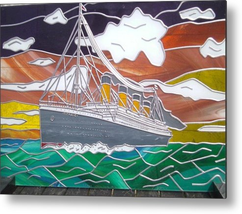 Titanic Metal Print featuring the glass art Titanics Last Sunset In Beautiful Stained Glass. by Robin Jeffcoate