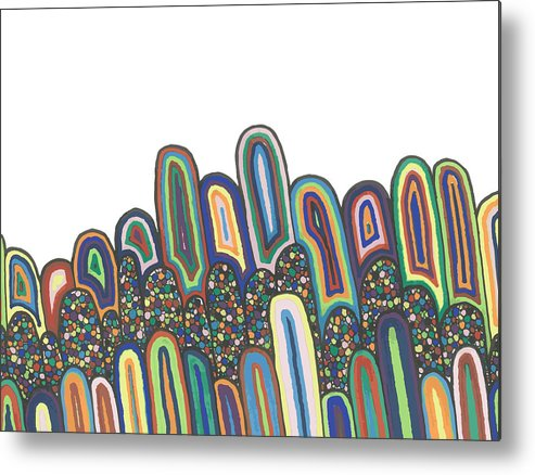 Abstract Metal Print featuring the drawing Together by Jill Lenzmeier
