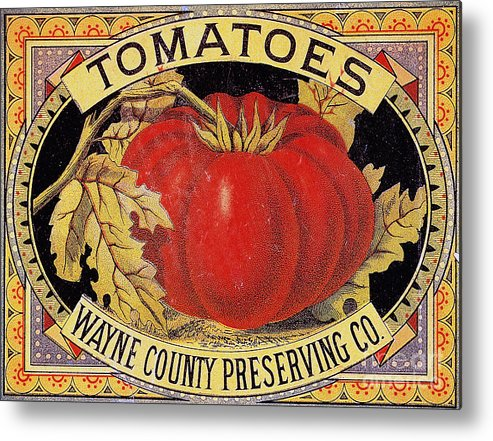 20th Century Metal Print featuring the photograph Tomato Can Label by Granger