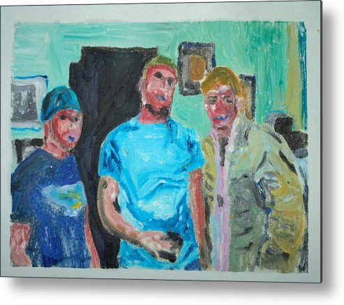Kids Metal Print featuring the painting tough Kids by John Toxey
