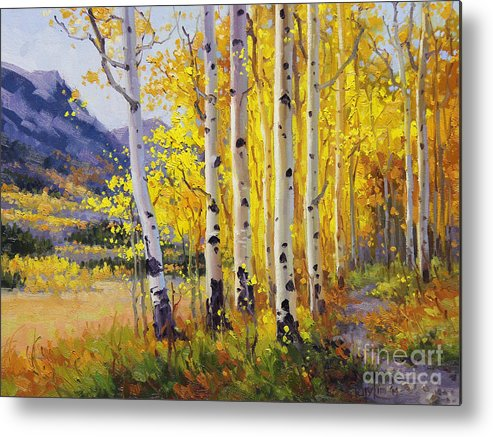 Gary Metal Print featuring the painting Trail Through Golden Aspen by Gary Kim