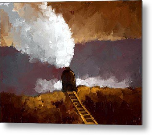 Landscape Metal Print featuring the painting Train by Bruce Young