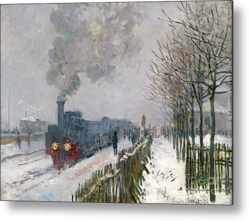 Train Metal Print featuring the painting Train In The Snow Or The Locomotive by Claude Monet
