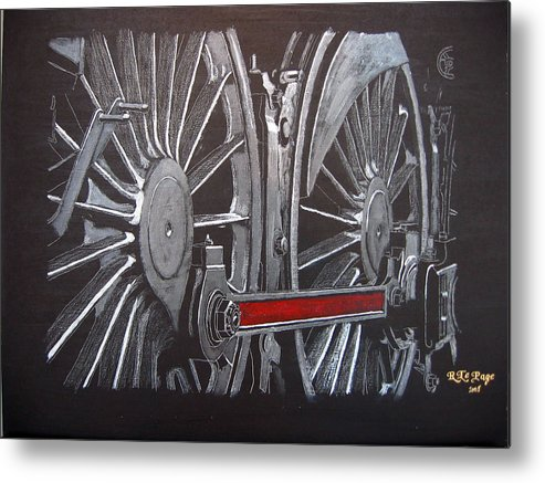 Trains Metal Print featuring the painting Train Wheels 1 by Richard Le Page