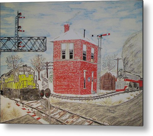 Train Metal Print featuring the painting Trains In Motion by Kathy Marrs Chandler