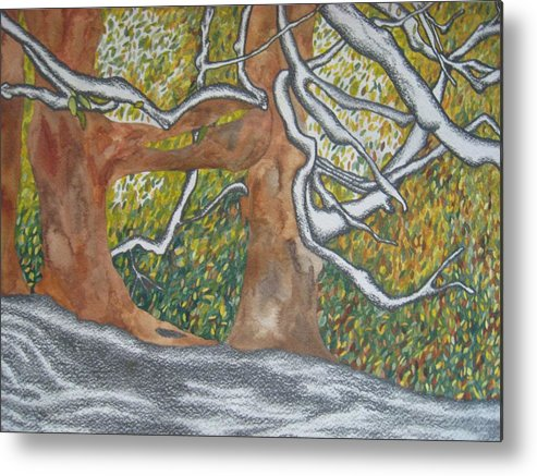 Trees Metal Print featuring the painting Trees by Theodora Dimitrijevic