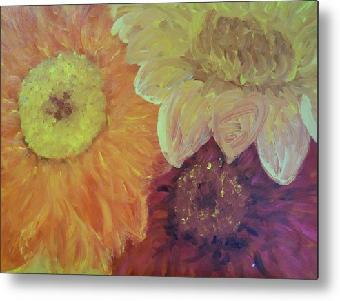 Daisies Metal Print featuring the painting Tri Colored Daisies by Heather Burbridge