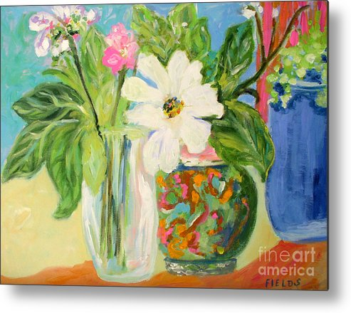 Still Life Metal Print featuring the painting Trio Of Vases by Karen Fields
